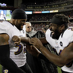 Baltimore Ravens inside linebacker Ray Lewis (52) and free safety Ed Reed (20) celebrate after their win against the New England Patriots in the NFL football AFC Championship football game i …