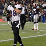 Baltimore Ravens tight end Dennis Pitta (88) reacts following a five-yard touchdown reception during the second half of the NFL football AFC Championship football game against the New Englan …