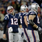 New England Patriots quarterback Tom Brady (12) reacts during the second half of the NFL football AFC Championship football game against the Baltimore Ravens in Foxborough, Mass., Sunday, Ja …
