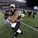 Baltimore Ravens inside linebacker Ray Lewis, right, celebrates with Vonta Leach after the NFL football AFC Championship football game against the New England Patriots in Foxborough, Mass.,  …