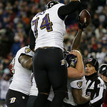 Baltimore Ravens wide receiver Anquan Boldin (81) reacts with teammates following a touchdown during the second half of the NFL football AFC Championship football game against the New Englan …