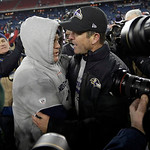 New England Patriots head coach Bill Belichick, left, and Baltimore Ravens head coach John Harbaugh, right, meet at midfield after the NFL football AFC Championship football game in Foxborou …