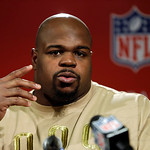 New England Patriots defensive tackle Vince Wilfork  speaks at a news conference after the NFL football AFC Championship football game against the Baltimore Ravens in Foxborough, Mass., Sund …