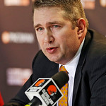 Cleveland Browns head coach Rob Chudzinski discusses the first round of the NFL football draft at the team's practice facility in Berea, Ohio on Thursday, April 25, 2013. The Browns selected …