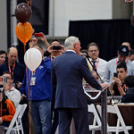 Cleveland Browns owner Jimmy Haslam, center, addresses sponsors at an NFL draft party at the football team's practice facility in Berea, Ohio on Thursday, April 25, 2013.  (AP Photo/Mark Dun …