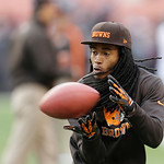 Cleveland Browns wide receiver Travis Benjamin warms up before the Browns play the Washington Redskins in an NFL football game Sunday, Dec. 16, 2012, in Cleveland. (AP Photo/Tony Dejak)
