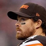 Cleveland Browns quarterback Colt McCoy watches from the sidelines in the second quarter of an NFL football game against the Cleveland Browns Sunday, Dec. 16, 2012, in Cleveland. (AP Photo/M …