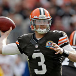 Cleveland Browns quarterback Brandon Weeden passes against the Washington Redskins in the first quarter of an NFL football game Sunday, Dec. 16, 2012, in Cleveland. (AP Photo/Tony Dejak)