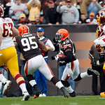 Cleveland Browns safety T.J. Ward (43) returns an interception against the Washington Redskins in the first quarter of an  NFL football game in Cleveland, Sunday, Dec. 16, 2012. (AP Photo/Ri …