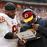 Washington Redskins nose tackle Barry Cofield (96) talks with defensive line coach Jacob Burney on the sidelines in the second quarter of an NFL football game against the Cleveland Browns in …