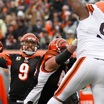 Cincinnati Bengals quarterback Carson Palmer (9) passes against the Cleveland Browns in the second half of an NFL football game, Sunday, Dec. 19, 2010, in Cincinnati. Bengals center Kyle Coo …