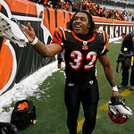 Cincinnati Bengals running back Cedric Benson tosses a shoe into the stands after they defeated the Cleveland Browns 19-17 in an NFL football game, Sunday, Dec. 19, 2010, in Cincinnati. Bens …