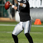 Oakland Raiders quarterback Carson Palmer (3) passes against the Cleveland Browns during the first quarter of an NFL football game in Oakland, Calif., Sunday, Dec. 2, 2012. (AP Photo/Jeff Ch …