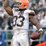 Cleveland Browns running back Trent Richardson (33) celebrates after scoring on a 3-yard touchdown run against the Oakland Raiders during the fourth quarter of an NFL football game in Oaklan …