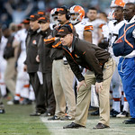 Cleveland Browns head coach Pat Shurmur against the Oakland Raiders during the second half of an NFL football game in Oakland, Calif., Sunday, Dec. 2, 2012. (AP Photo/Marcio Jose Sanchez)