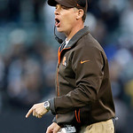 Cleveland Browns head coach Pat Shurmur yells during the fourth quarter of an NFL football game against the Oakland Raiders in Oakland, Calif., Sunday, Dec. 2, 2012. The Browns won 20-17. (A …
