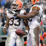 Cleveland Browns running back Trent Richardson (33) celebrates with tight end Benjamin Watson (82) after scoring on a 3-yard touchdown run against the Oakland Raiders during the fourth quart …
