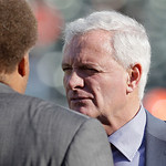 Cleveland Browns owner Jimmy Haslam, right, talks with Oakland Raiders general manager Reggie Mckenzie before an NFL football game in Oakland, Calif., Sunday, Dec. 2, 2012. (AP Photo/Tony Av …
