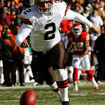 Cleveland Browns punter Reggie Hodges (2) fumbles the snap during the first half of an NFL football game against the Kansas City Chiefs, Sunday, Dec. 20, 2009, in Kansas City, Mo. The Chiefs …