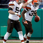 Cleveland Browns running back Jerome Harrison (35) celebrates with linebacker Blake Costanzo (54) after scoring the game-winning touchdown during the fourth quarter of an NFL football game a …