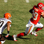 Kansas City Chiefs cornerback Brandon Carr (39) runs the ball after intercepting a pass intended for Cleveland Browns wide receiver Brian Robiskie, left, during the first quarter of an NFL f …