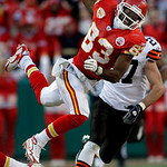 Kansas City Chiefs wide receiver Mark Bradley (83) grabs a pass ahead of Cleveland Browns safety Nick Sorensen (27) for a short gain during the fourth quarter of an NFL football game Sunday, …
