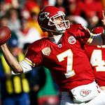 Kansas City Chiefs quarterback Matt Cassel (7) passes to a teammate during the first half of an NFL football game against the Cleveland Browns, Sunday, Dec. 20, 2009, in Kansas City, Mo. (AP …