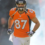 Denver Broncos wide receiver Eric Decker runs onto the field during introductions before an NFL football game against the Cleveland Browns, Sunday, Dec. 23, 2012, in Denver. (AP Photo/Jack D …