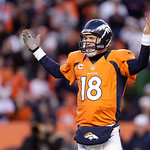 Denver Broncos quarterback Peyton Manning reacts during the fourth quarter  of an NFL football game against the Cleveland Browns, Sunday, Dec. 23, 2012, in Denver. The Broncos beat the Cleve …