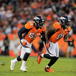 Denver Broncos outside linebacker Von Miller (58) and defensive end Robert Ayers (91) rush the Cleveland Browns during an NFL football game, Sunday, Dec. 23, 2012, in Denver. (AP Photo/Jack  …