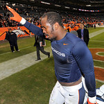 Denver Broncos outside linebacker Von Miller (58) waves to fans as he walks off the field after playing the Cleveland Browns in an NFL football game, Sunday, Dec. 23, 2012, in Denver. Denver …