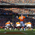 Denver Broncos quarterback Peyton Manning (18) calls a play at the line of scrimage during the second quarter of an NFL football game against the Cleveland Browns, Sunday, Dec. 23, 2012, in  …