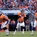 Denver Broncos quarterback Peyton Manning (18) looks for a receiver in the third quarter of an NFL football game against the Cleveland Browns, Sunday, Dec. 23, 2012, in Denver. (AP Photo/Joe …
