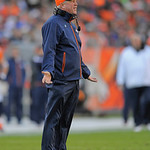 Denver Broncos head coach John Fox questions a call during the fourth quarter of an NFL football game against the Cleveland Browns, Sunday, Dec. 23, 2012, in Denver. (AP Photo/Joe Mahoney)