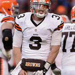 Cleveland Browns quarterback Brandon Weeden (3) reacts after being injured on a sack by the Denver Broncos in the third quarter of an NFL football game, Sunday, Dec. 23, 2012, in Denver. (AP …