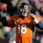 Denver Broncos quarterback Peyton Manning sets to throw a pass in the second quarter of an NFL football game against the Cleveland Browns, Sunday, Dec. 23, 2012, in Denver. (AP Photo/Jack De …