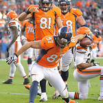 Denver Broncos wide receiver Eric Decker (87) reacts after scoring a touchdown against the Cleveland Browns in the third quarter of an NFL football game, Sunday, Dec. 23, 2012, in Denver. (A …