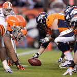 The Cleveland Browns defense, left, lines up against the Denver Broncos offense during the fourth quarter of an NFL football game, Sunday, Dec. 23, 2012, in Denver. Denver defeated the Cleve …