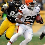 Pittsburgh Steelers inside linebacker Lawrence Timmons (94) looks to tackle Cleveland Browns running back Brandon Jackson (29) during the third quarter of an NFL football game on Sunday, Dec …