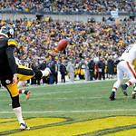 Pittsburgh Steelers punter Drew Butler (9) punts in the third quarter of an NFL football game against the Cleveland Browns on Sunday, Dec. 30, 2012, in Pittsburgh. (AP Photo/Don Wright)