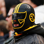 A Pittsburgh Steelers fan watches during the fourth quarter of an NFL football game between the Steelers and the Cleveland Browns in Pittsburgh, Sunday, Dec. 30, 2012. The Steelers won 24-10 …