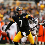 Pittsburgh Steelers quarterback Ben Roethlisberger (7) is forced out of the pocket by Cleveland Browns nose tackle Ishmaa'ily Kitchen (67) as he looks to pass during the third quarter of an  …