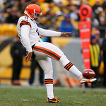 Cleveland Browns punter Reggie Hodges (2) gets off a punt during the second quarter of an NFL football game against the Pittsburgh Steelers in Pittsburgh, Sunday, Dec. 30, 2012. The Steelers …