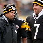 Pittsburgh Steelers offensive coordinator Todd Haley, left, and Pittsburgh Steelers quarterback Ben Roethlisberger (7) walk on the sidelines during the fourth quarter of an NFL football game …