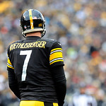 Pittsburgh Steelers quarterback Ben Roethlisberger (7) between plays in the third quarter of an NFL football game against the Cleveland Browns on Sunday, Dec. 30, 2012, in Pittsburgh. (AP Ph …