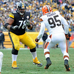 Pittsburgh Steelers tackle Max Starks (78) looks to block Cleveland Browns defensive end Juqua Parker (95) during the third quarter of an NFL football game on Sunday, Dec. 30, 2012, in Pitts …