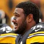 Pittsburgh Steelers tackle Max Starks (78) sits on the bench during the fourth quarter of an NFL football game against the Cleveland Browns in Pittsburgh, Sunday, Dec. 30, 2012. The Steelers …