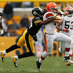 Cleveland Browns defensive back Raymond Ventrone (41) is tackled by Pittsburgh Steelers wide receiver Antonio Brown (84) taking the snap on a fake punt and rushing for 35-yards during the th …