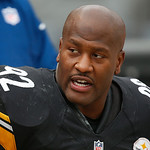 Pittsburgh Steelers outside linebacker James Harrison (92) sits on the sidelines during the fourth quarter of an NFL football game against the Cleveland Browns in Pittsburgh, Sunday, Dec. 30 …