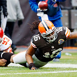 Cleveland Browns wide receiver Josh Cribbs (16) stretches for the goal line after being tackled by Kansas City Chiefs linebacker Cory Greenwood (93) in the third quarter of an NFL football g …